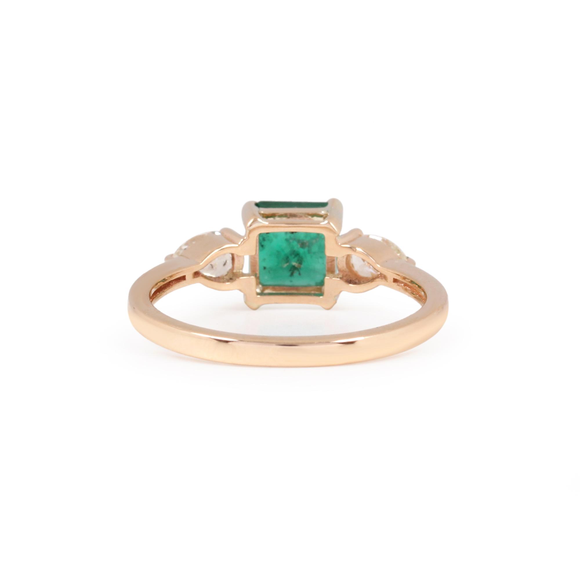 Natural Emerald Gemstone Diamond 14K Solid Gold Ring