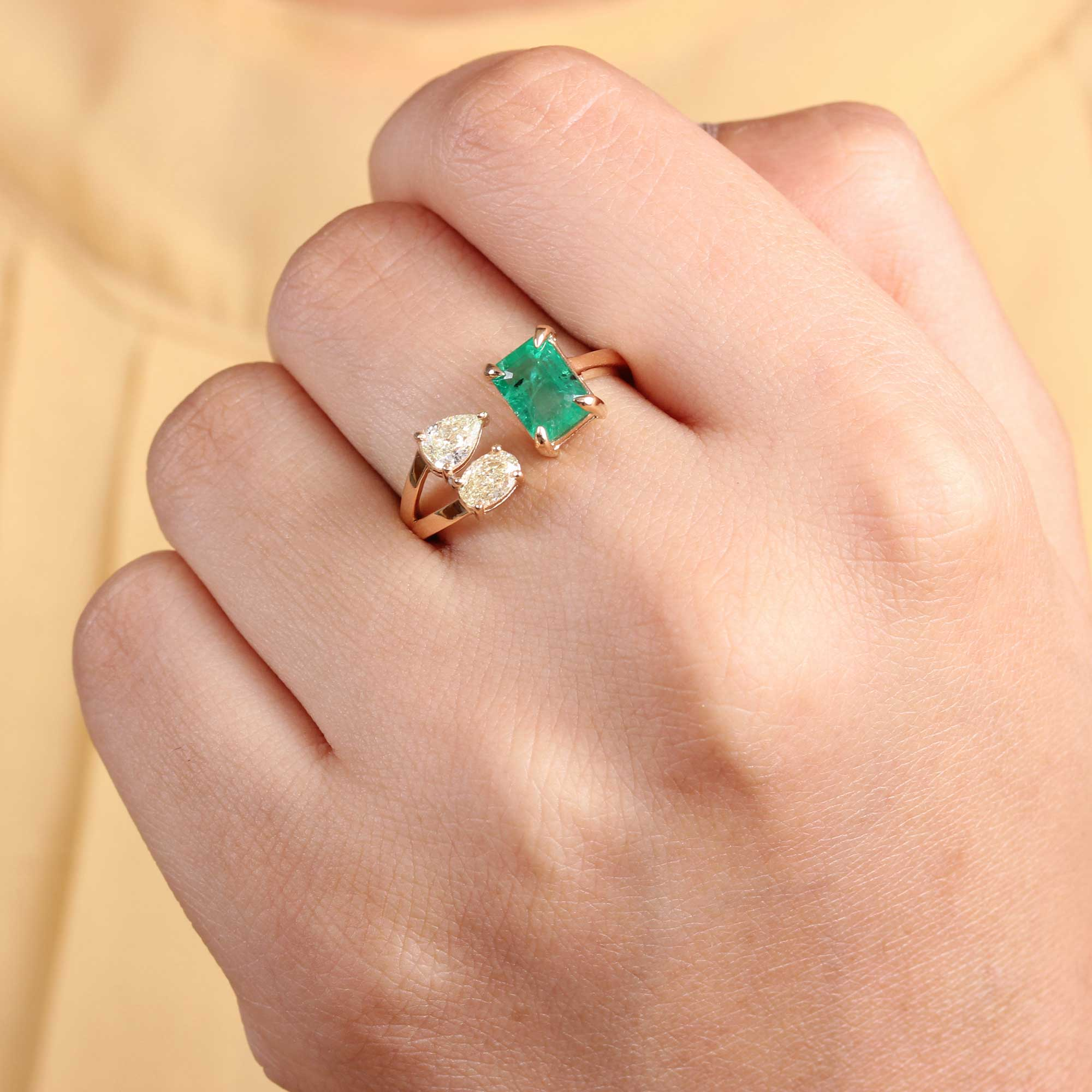 Natural Emerald Diamond 14K Solid Gold Ring