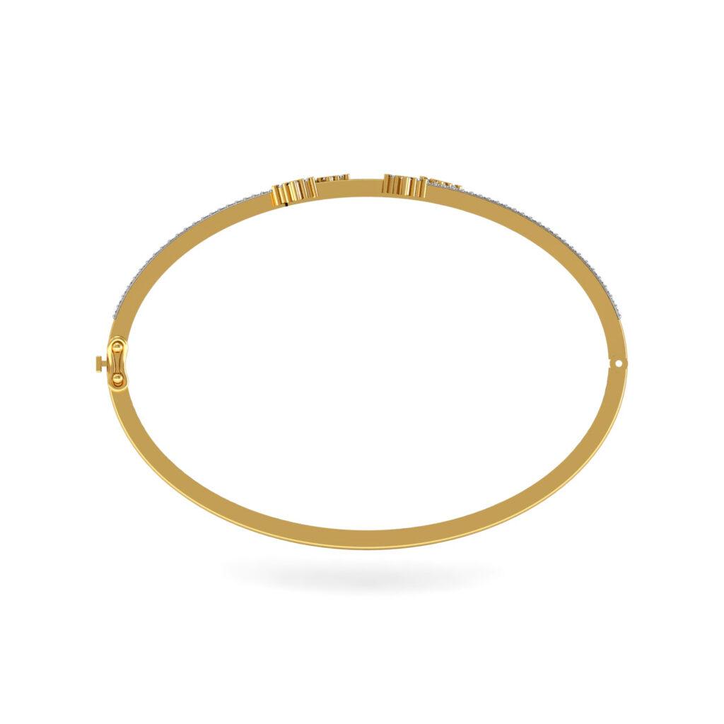 Natural diamond gold bangle bracelet