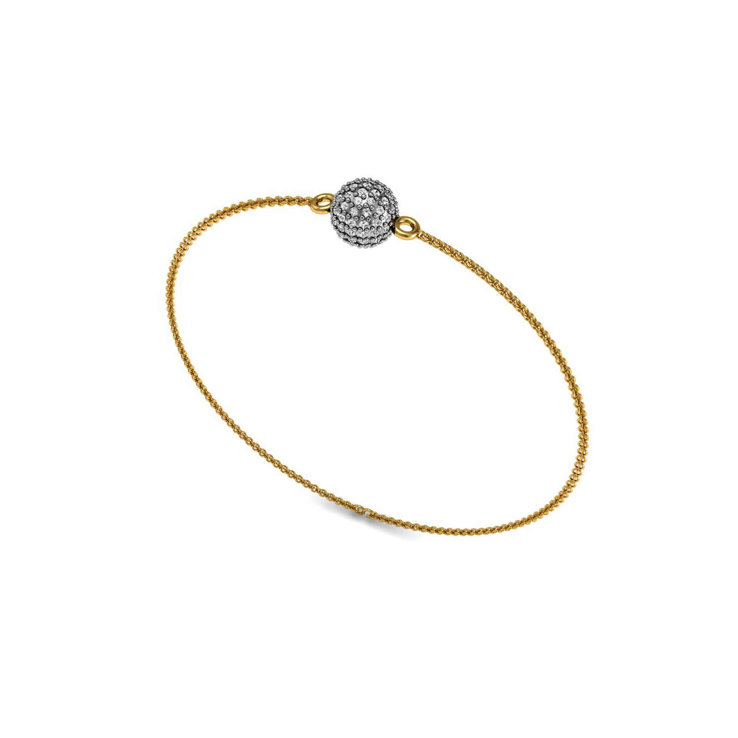 Solid gold chain bead bracelet with natural diamond