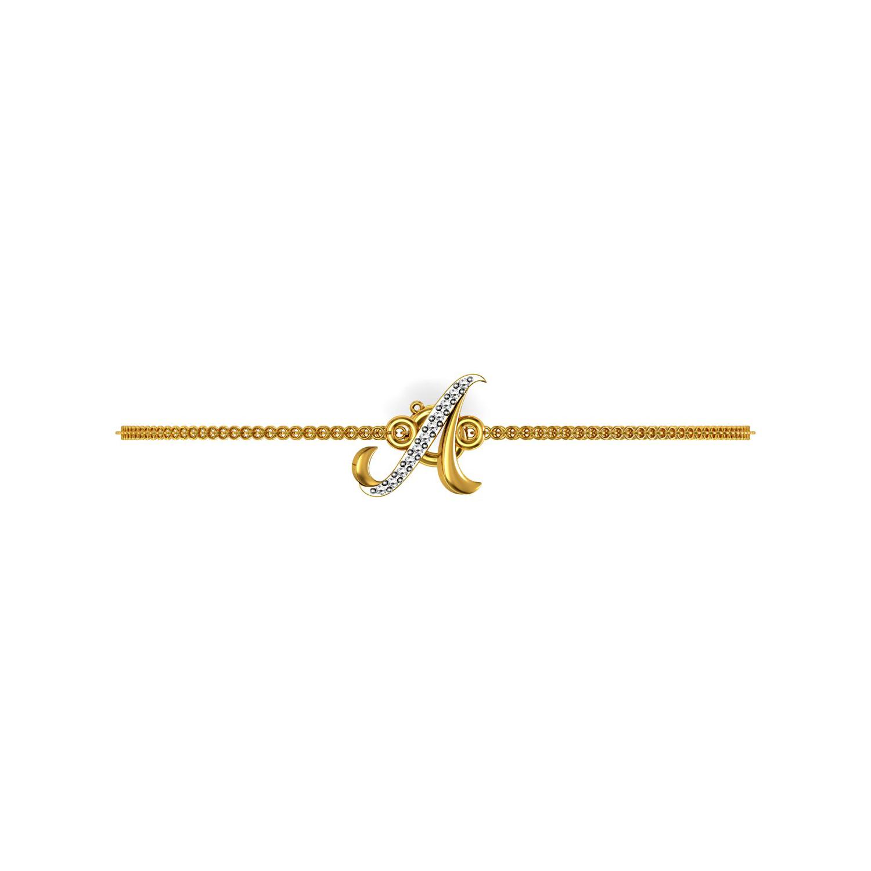 Solid gold diamond Alphabet a chain bracelet