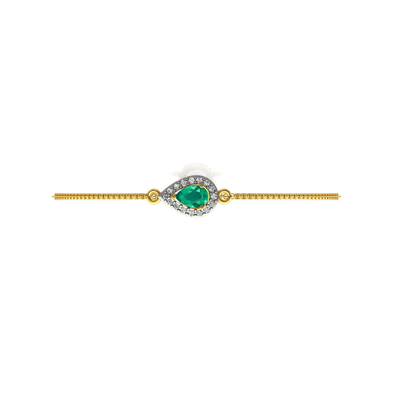 Real diamond emerald gold chain bracelet