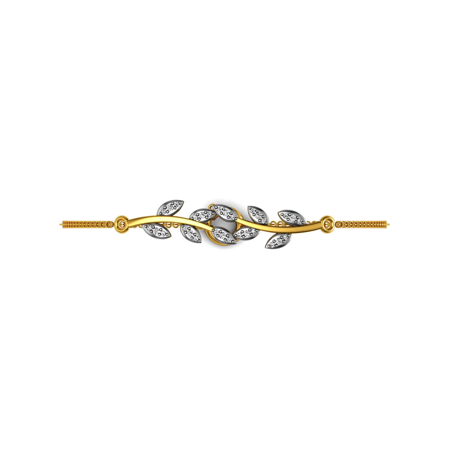 Solid gold diamond feather style chain bracelet