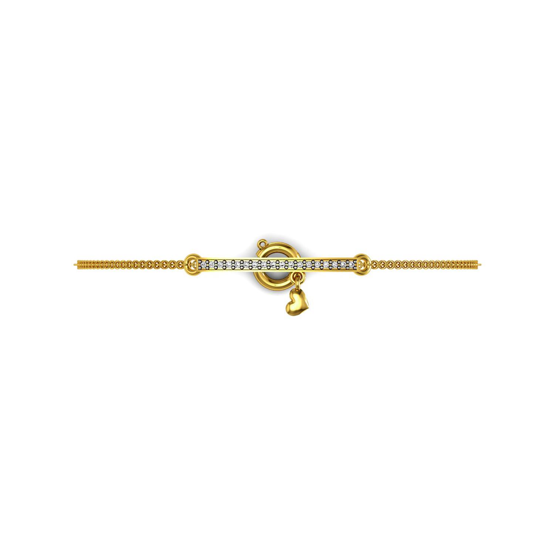 Genuine diamond bar heart chain bracelet set in gold