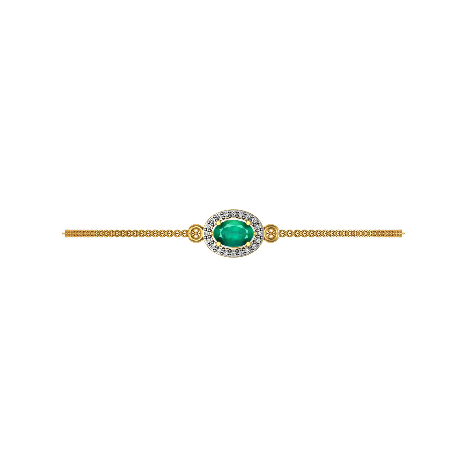 Solid gold emerald real diamond chain bracelet