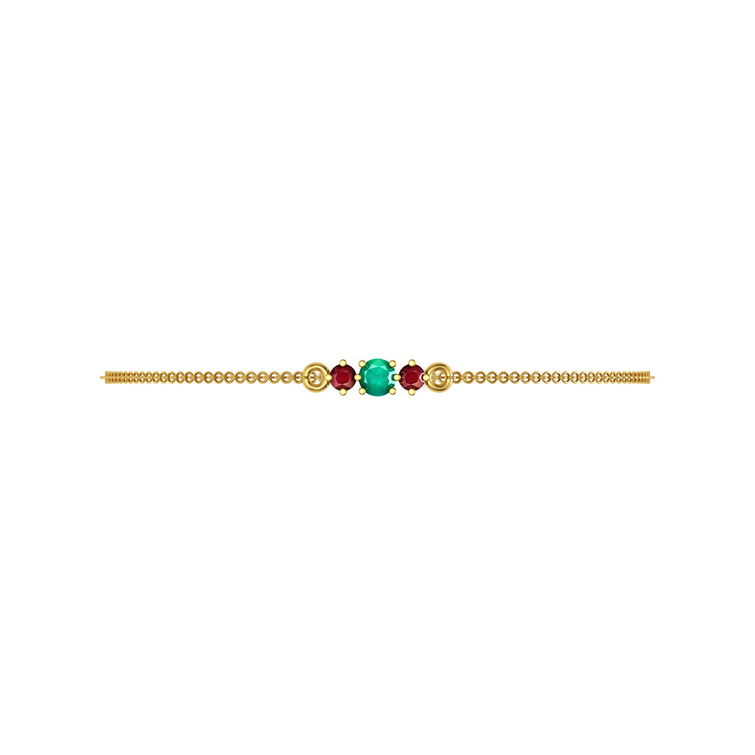 Solid gold emerald ruby chain bracelet