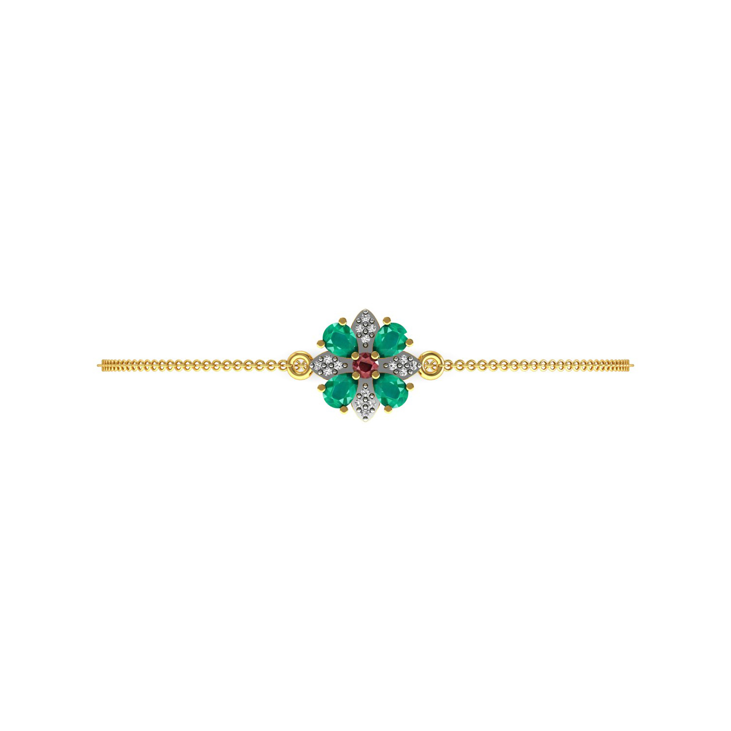 Natural ruby emerald solid gold diamond floral chain bracelet