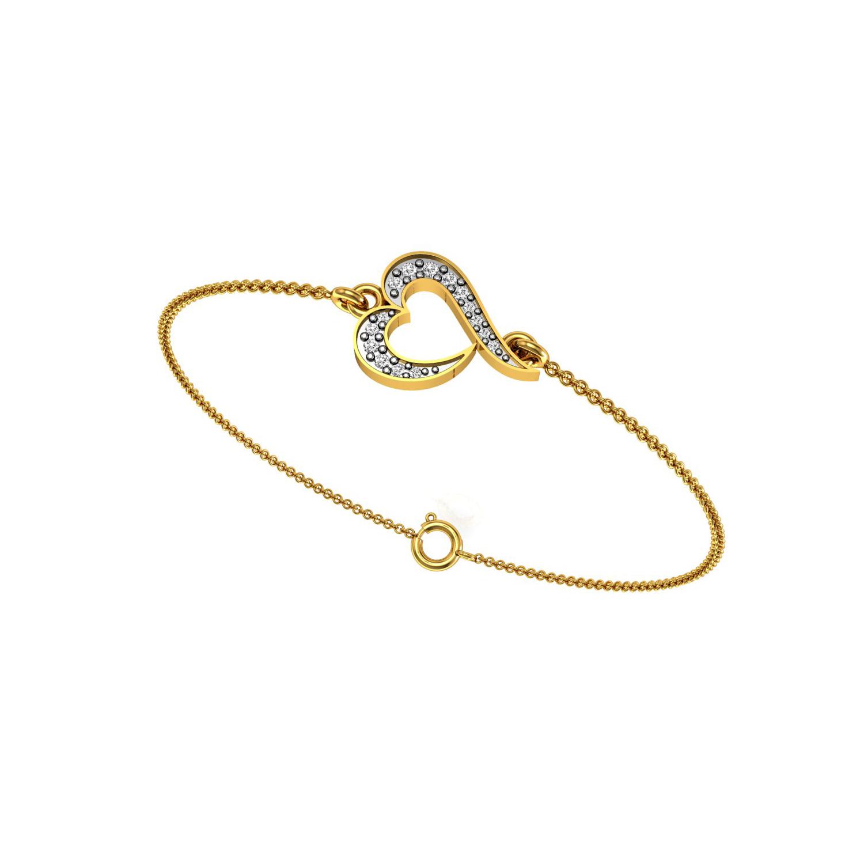 Gold heart connector real diamond chain bracelet