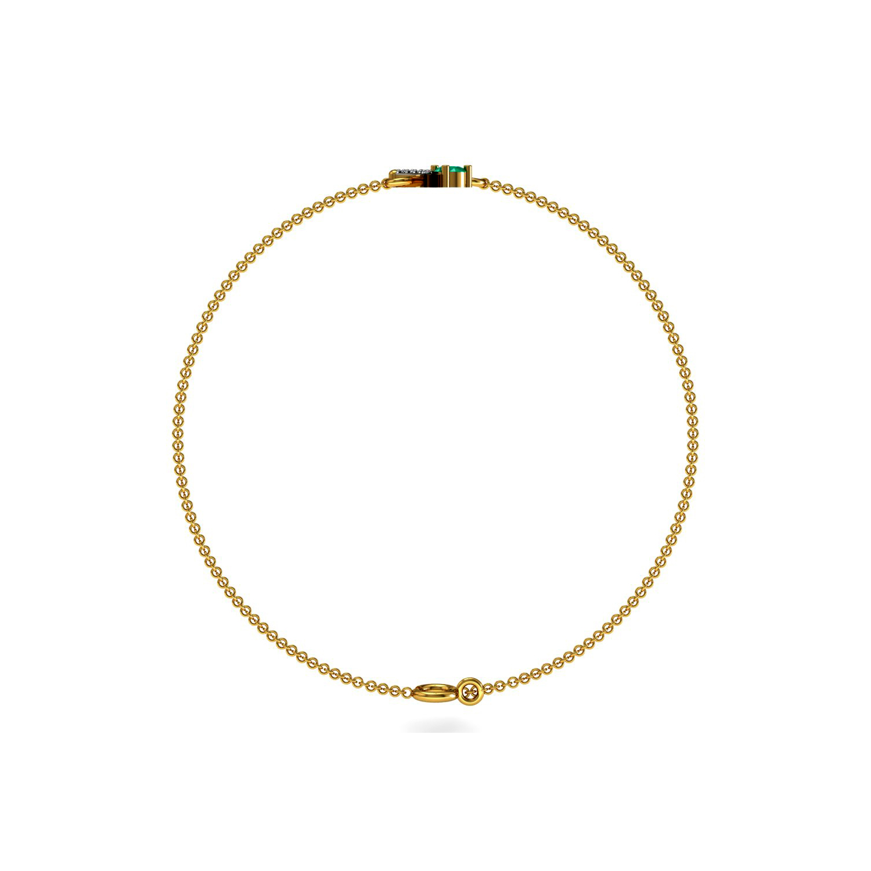 Emerald diamond solid gold chain bracelet