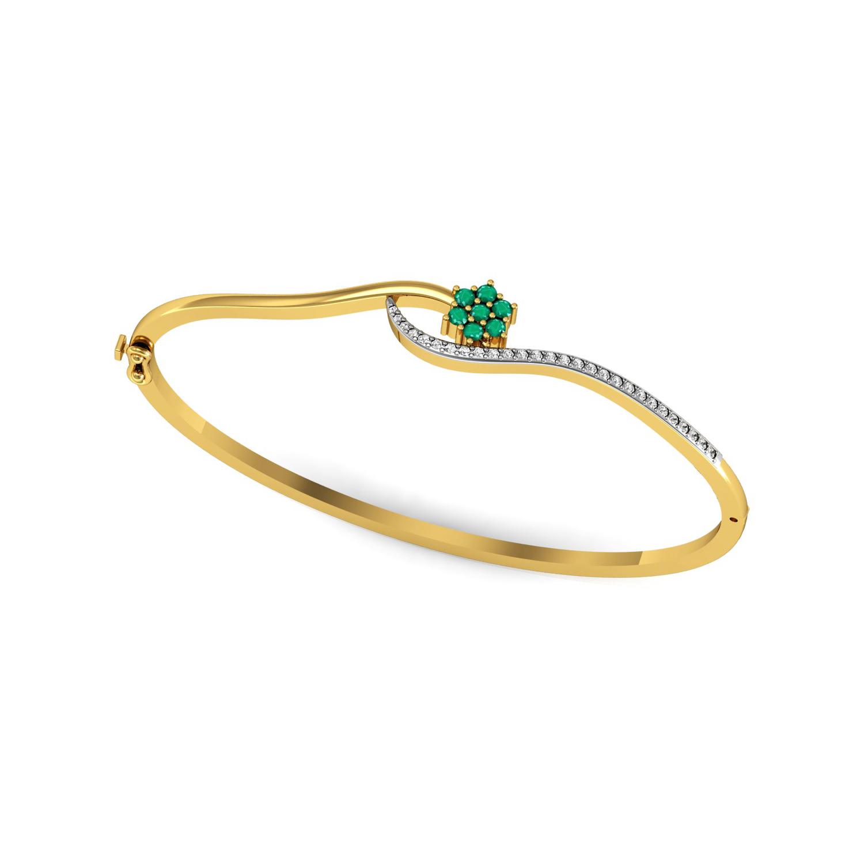 Real diamond emerald solid gold bangle bracelet