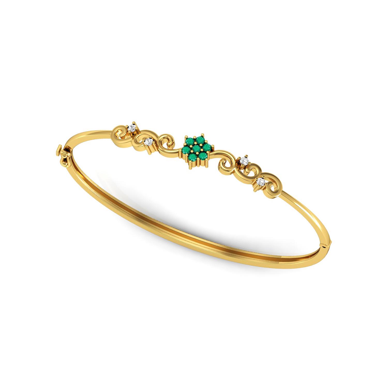 Gemstone emerald diamond solid gold bangle bracelet