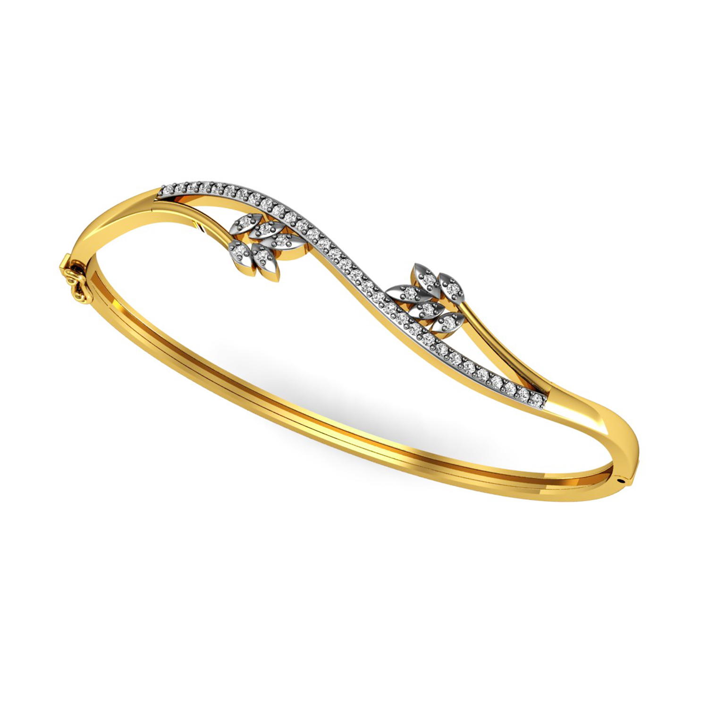 Gold real diamond bangle bracelet
