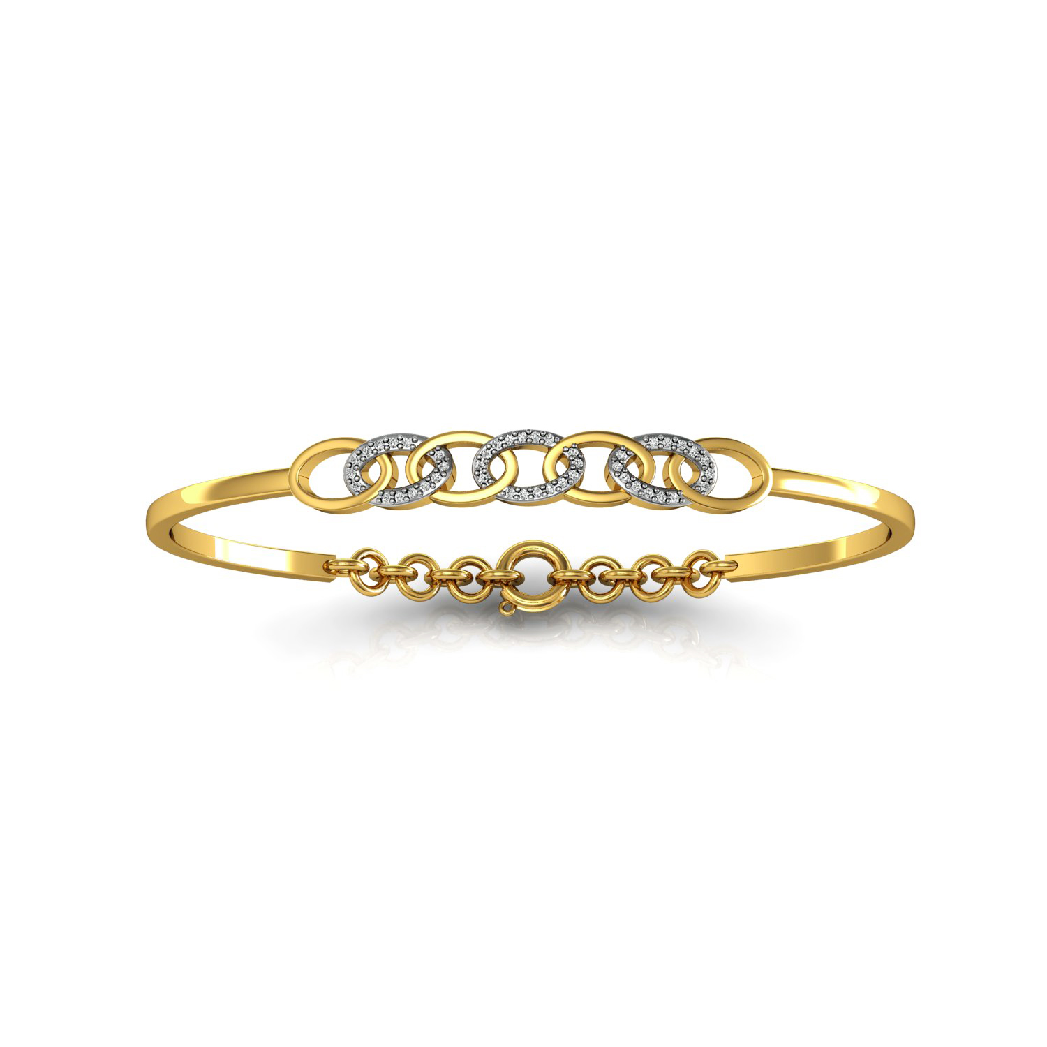 Natural diamond solid gold openable bangle bracelet
