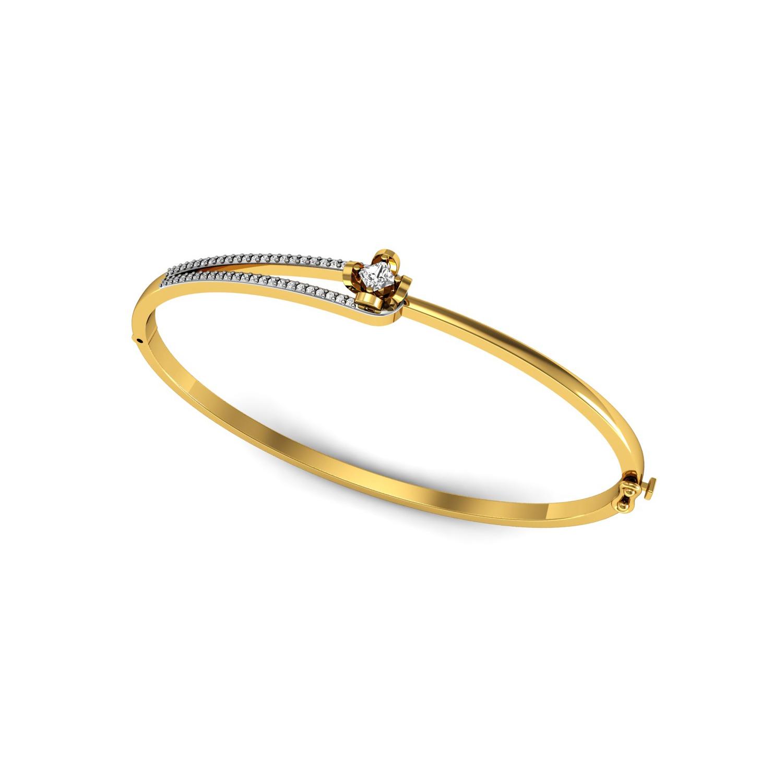 Natural diamond openable bangle bracelet set in gold