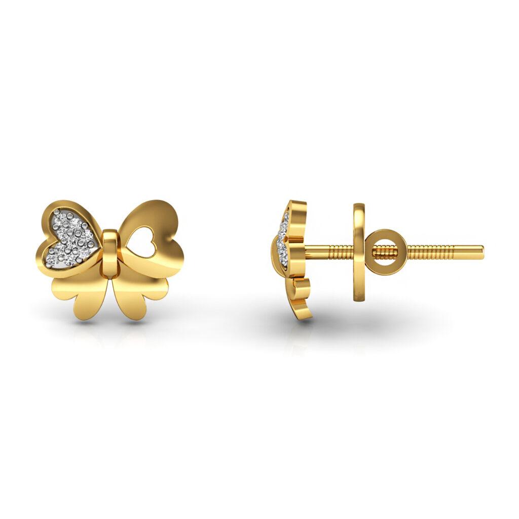 Genuine diamond solid gold butterfly kids stud earrings