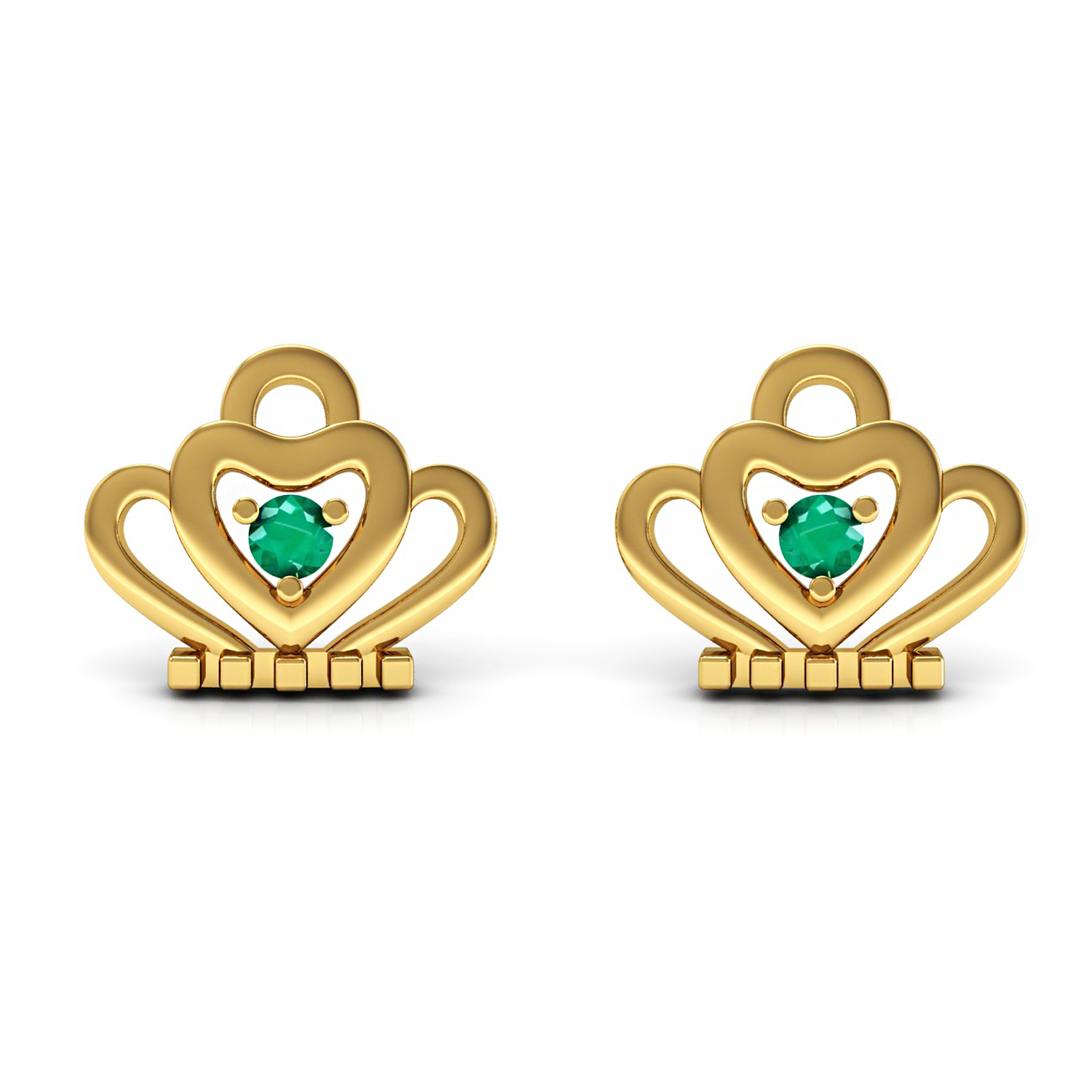 Solid gold natural emerald kids stud earrings