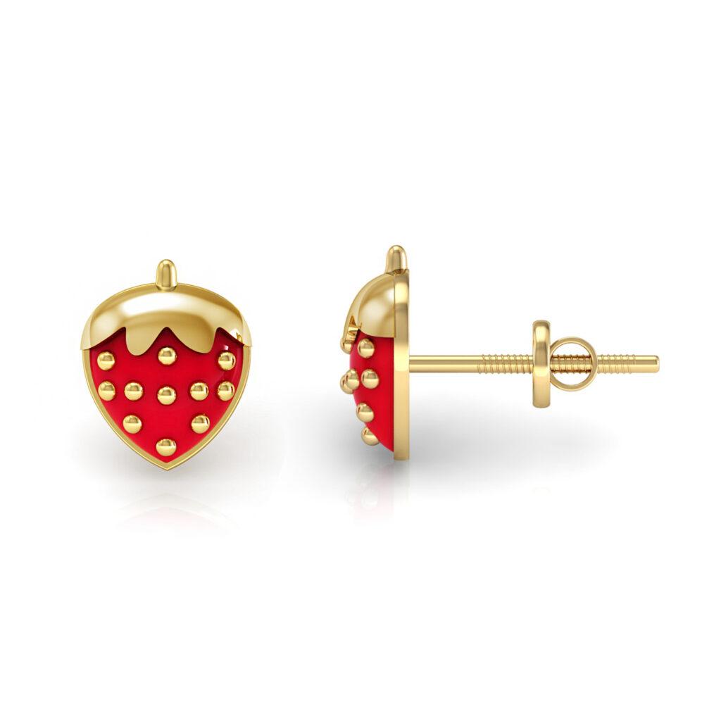Solid gold cherry shape kids stud earrings enamel jewelry