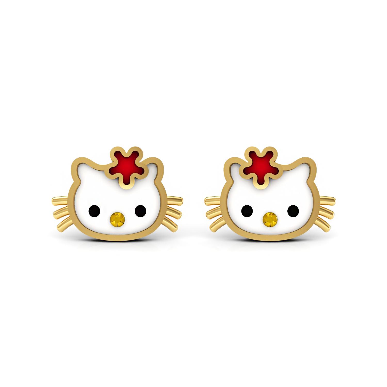 Solid gold smily face kids stud earrings enamel jewelry