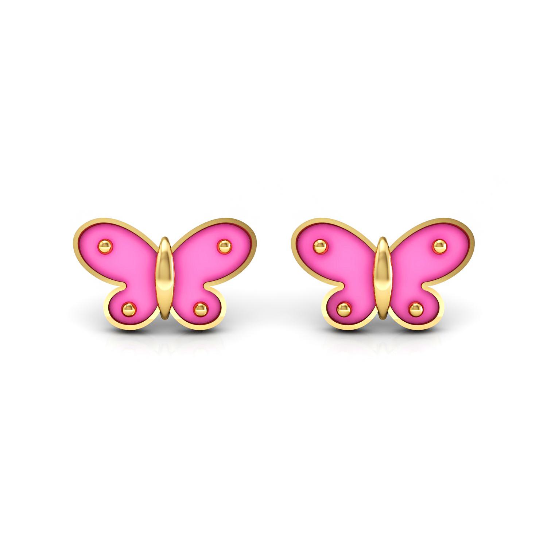 Solid gold butterfly shape enamel kids stud earrings