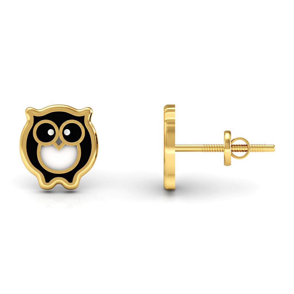 Solid gold enamel owl shape kids stud earrings