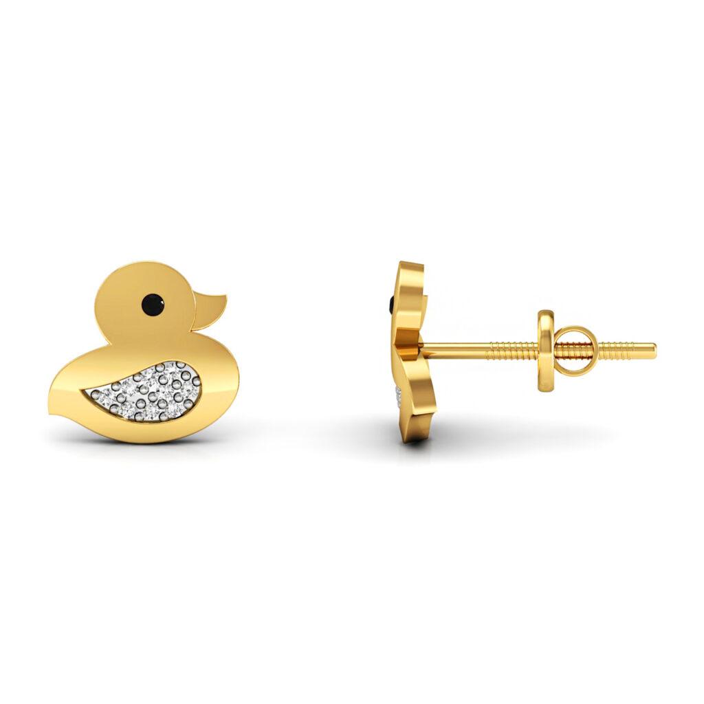 Duck shape kids stud earrings set in solid gold real diamond
