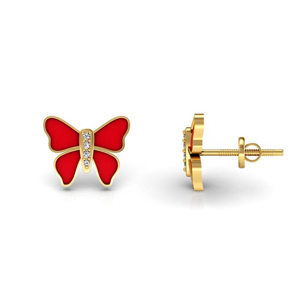 18k solid gold butterfly stud earrings real diamond enamel jewelry