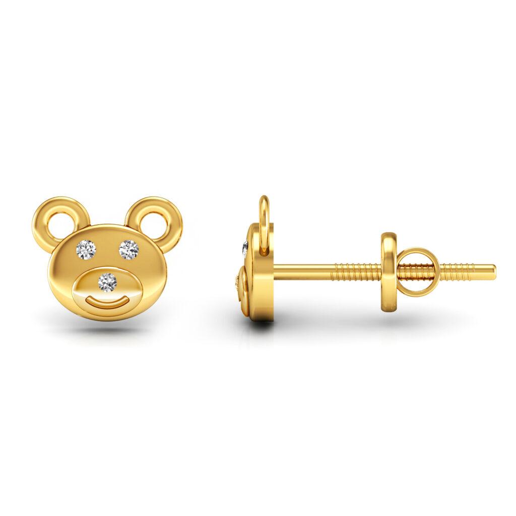 Genuine diamond kids stud earrings 18k solid gold fine jewelry