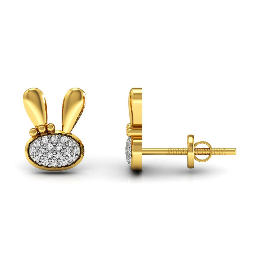 Diamond rabbit kids stud earrings made in 18k solid gold fine jewelry