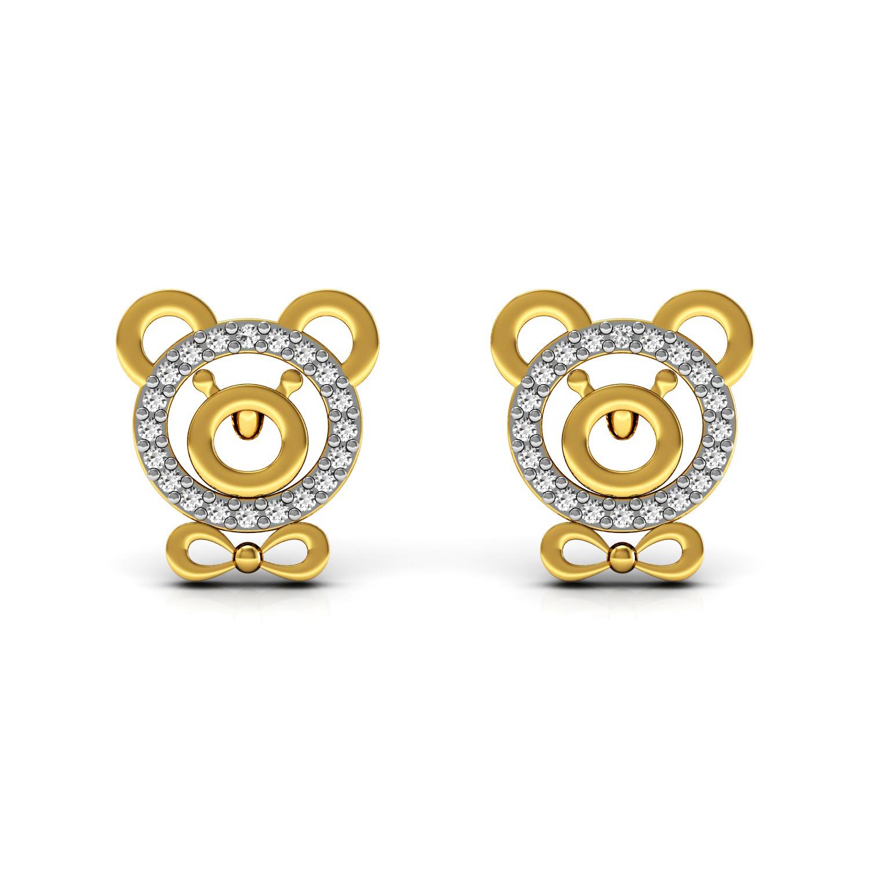 18k solid gold genuine diamond teddy bear kids stud earrings