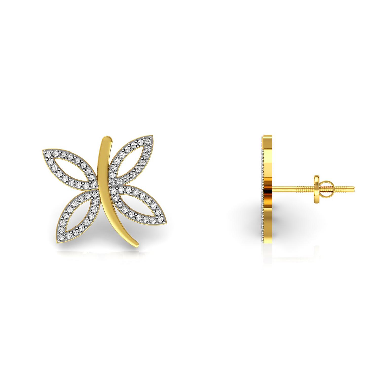 Butterfly shape diamond kids stud earrings solid 18k gold jewelry