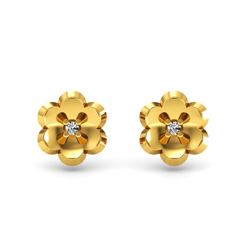 Real diamond 18k solid gold floral kids stud earrings