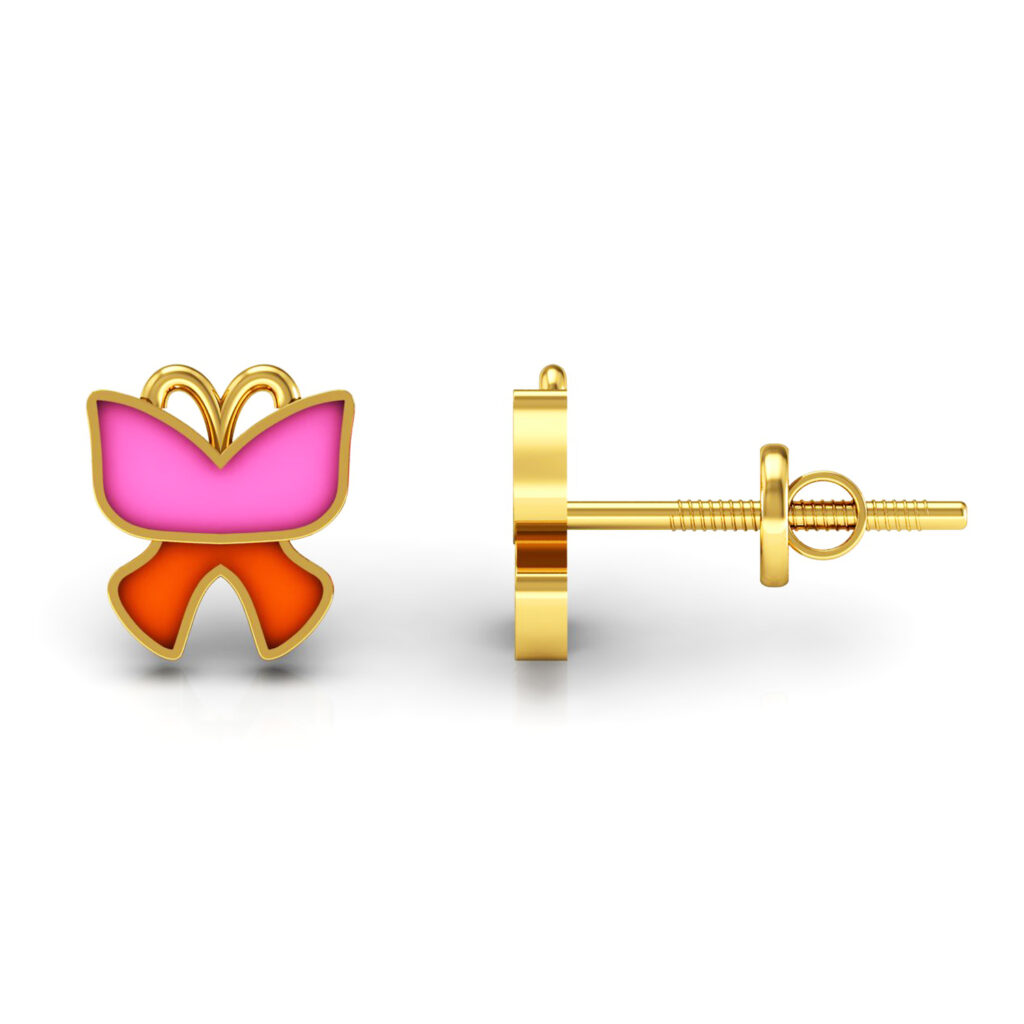 18k solid gold stud earrings kids enamel jewelry