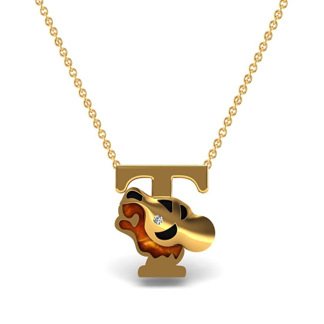 Solid 18k gold diamond alphabet T kids pendant with chain