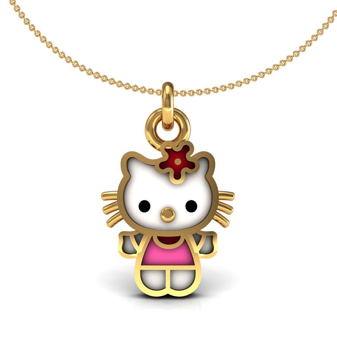18k gold enamel teddy kids pendant with chain
