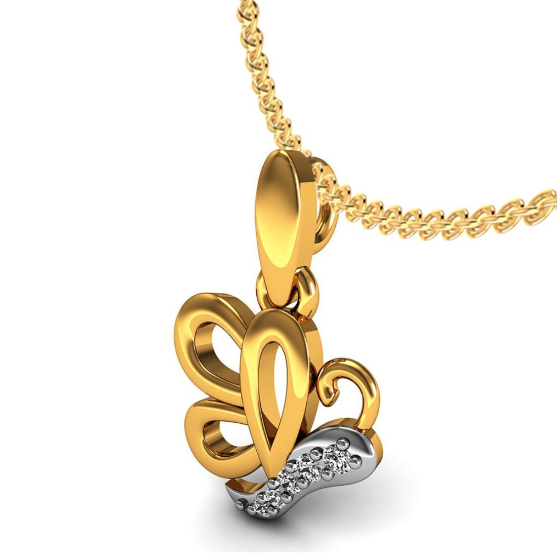 18k Gold real diamond kids chain pendant Fine Jewelry