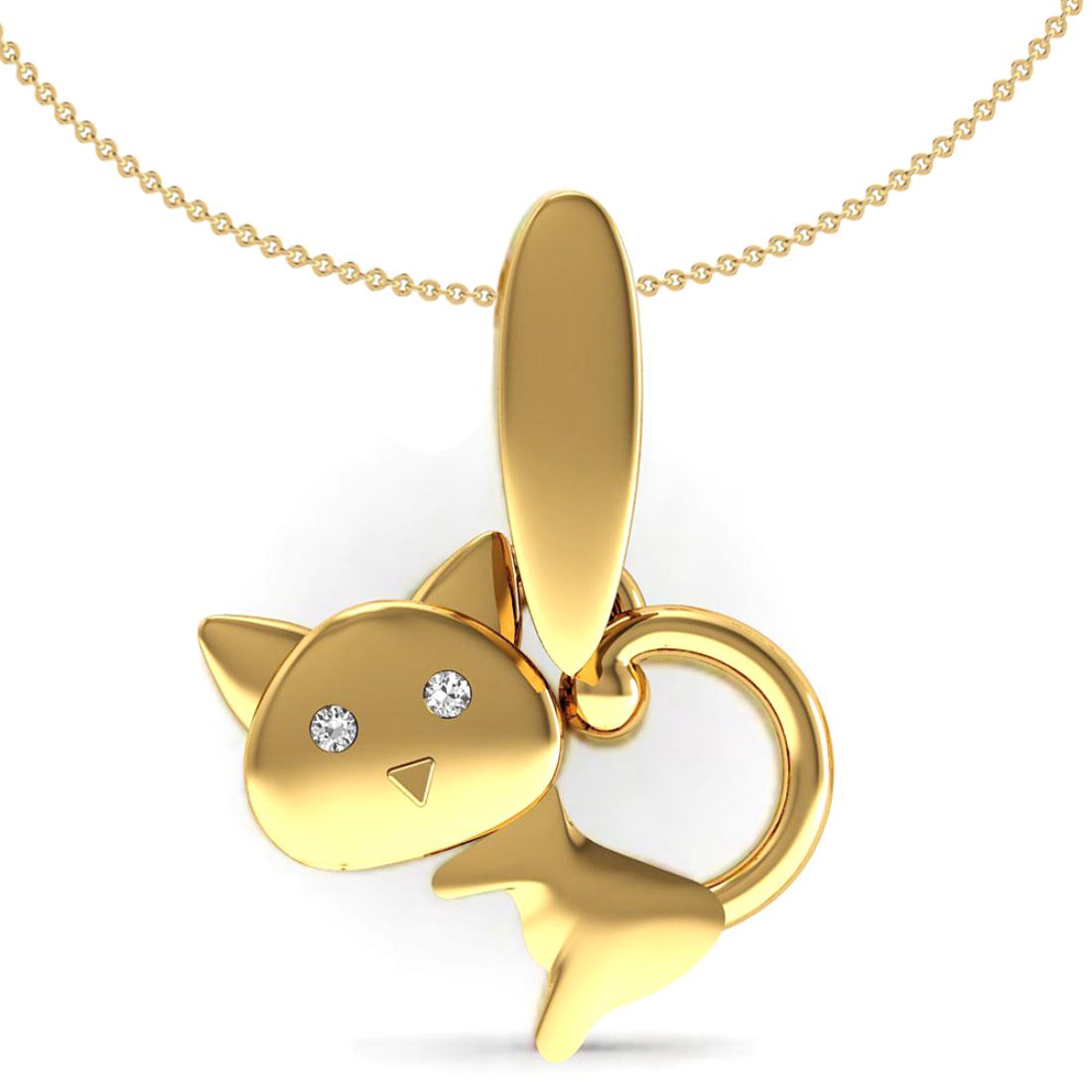 Natural Diamond eye cat shape kids pendant with chain, 18k Gold jewelry