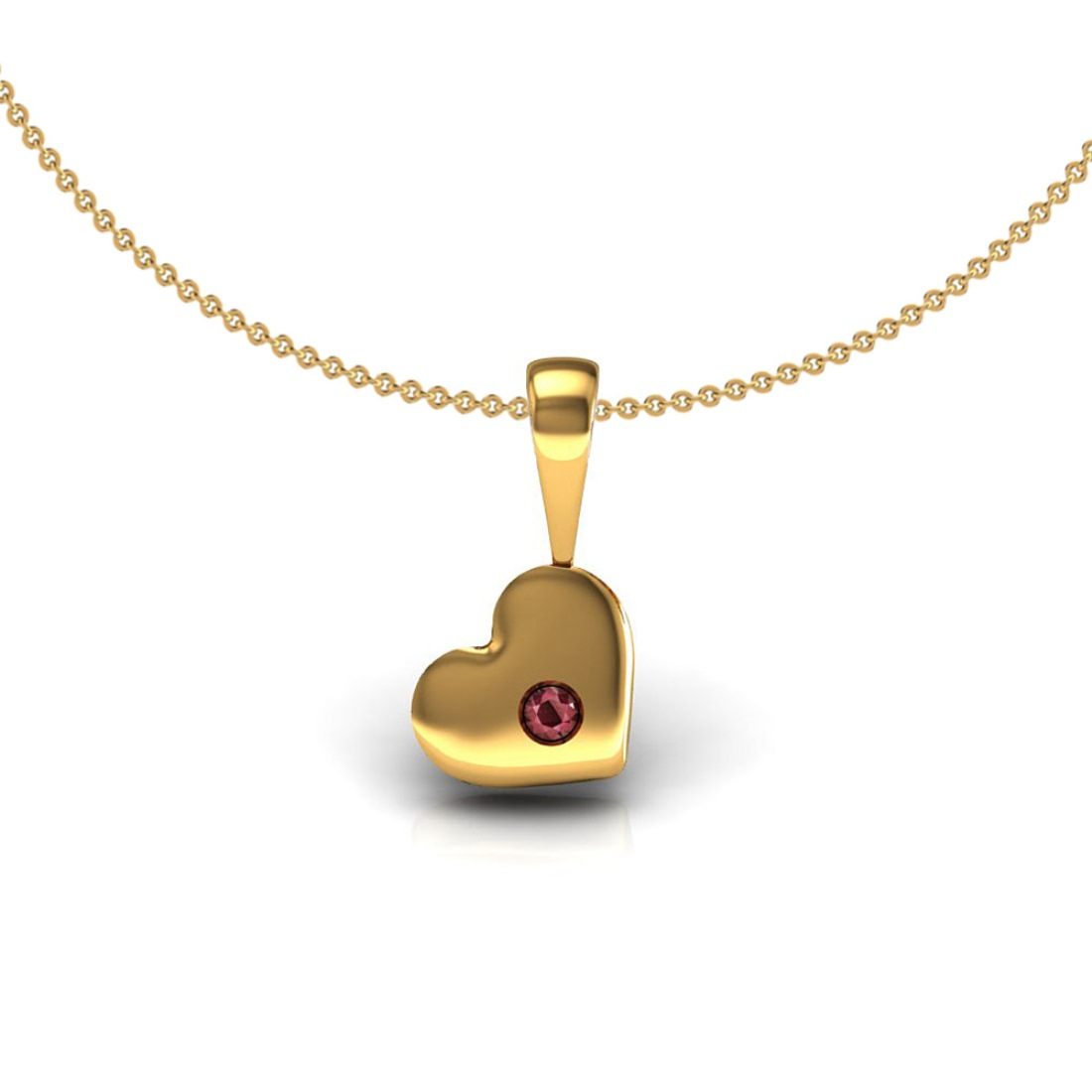18k Solid gold ruby heart shape kids pendant with chain fine jewelry