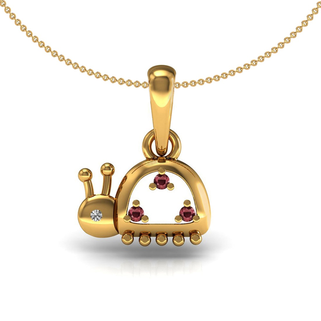18k Solid Gold genuine ruby diamond snail kids pendant with chain