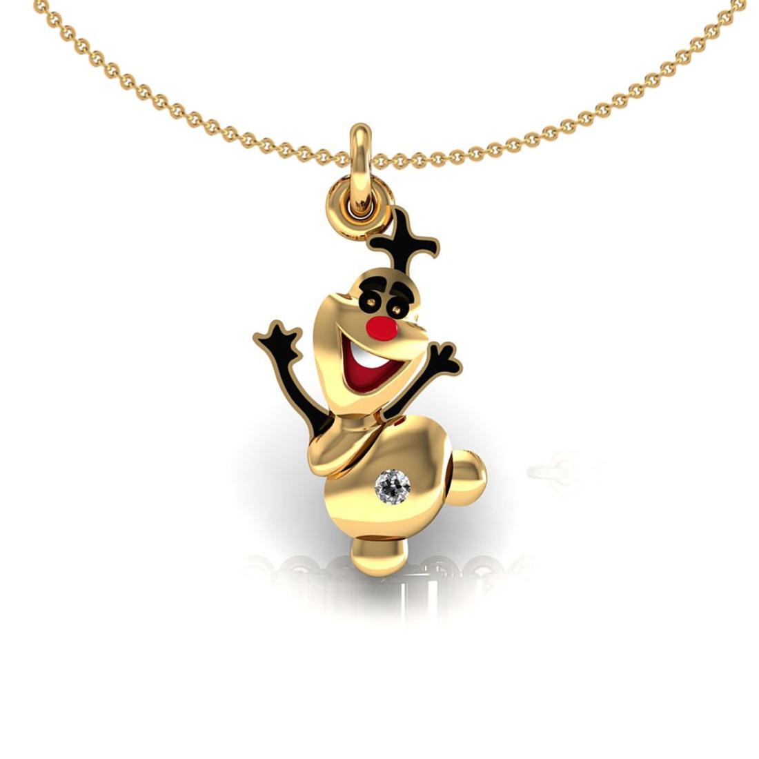 Joker kids pendant with chain 18k gold diamond enamel jewelry
