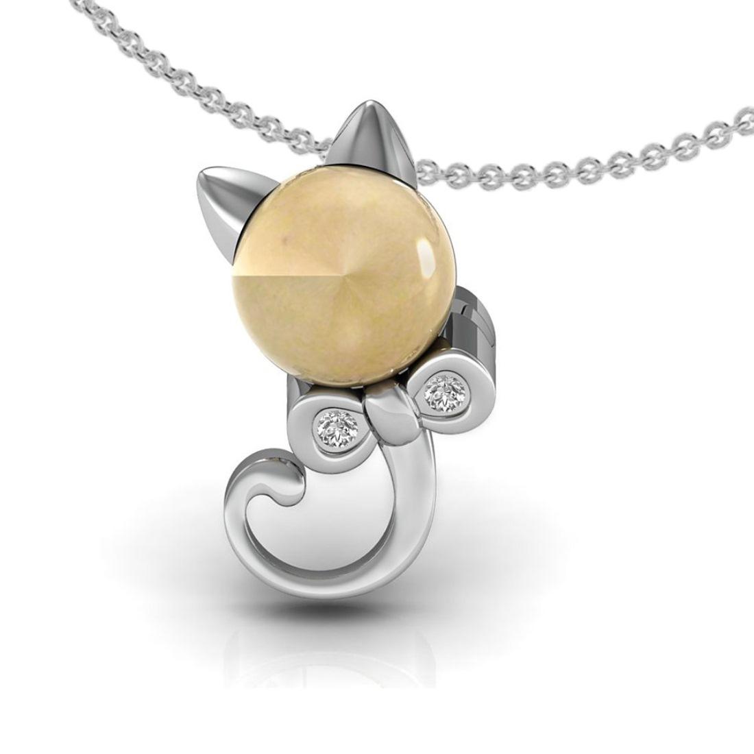 Solid 18k gold diamond rat shape kids pendant with chain
