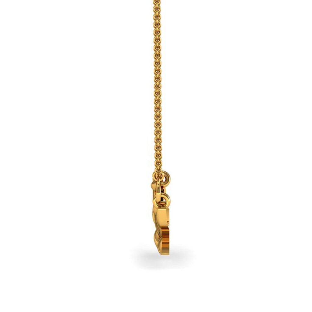 Solid 18k yellow gold leaf shape kids pendant with chain