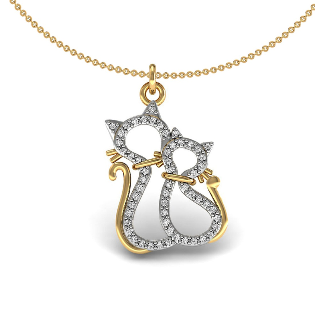 Two cat kids pendant set in 18k gold with diamond fine jewelry