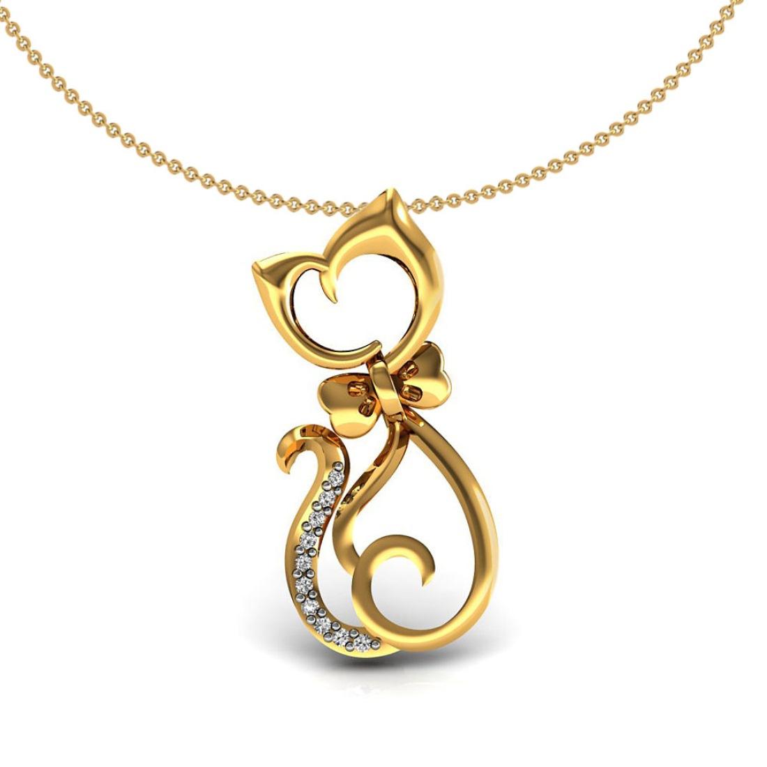 18k Solid gold cat design kids pendant with diamond fine jewelry