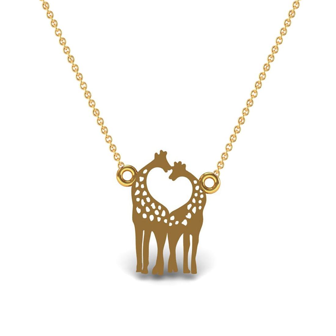 Giraffe shape kids pendant solid gold jewelry