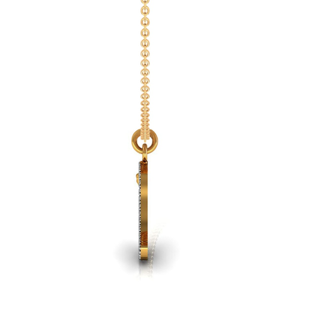 18k Solid gold bird shape kids pendant adorned with diamond