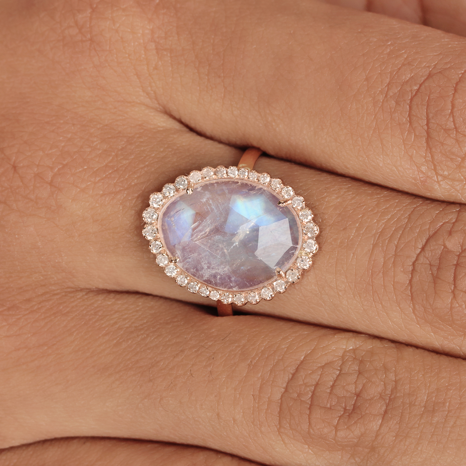 14K Solid Gold Rainbow Moonstone Cocktail Ring Natural Diamond Jewelry
