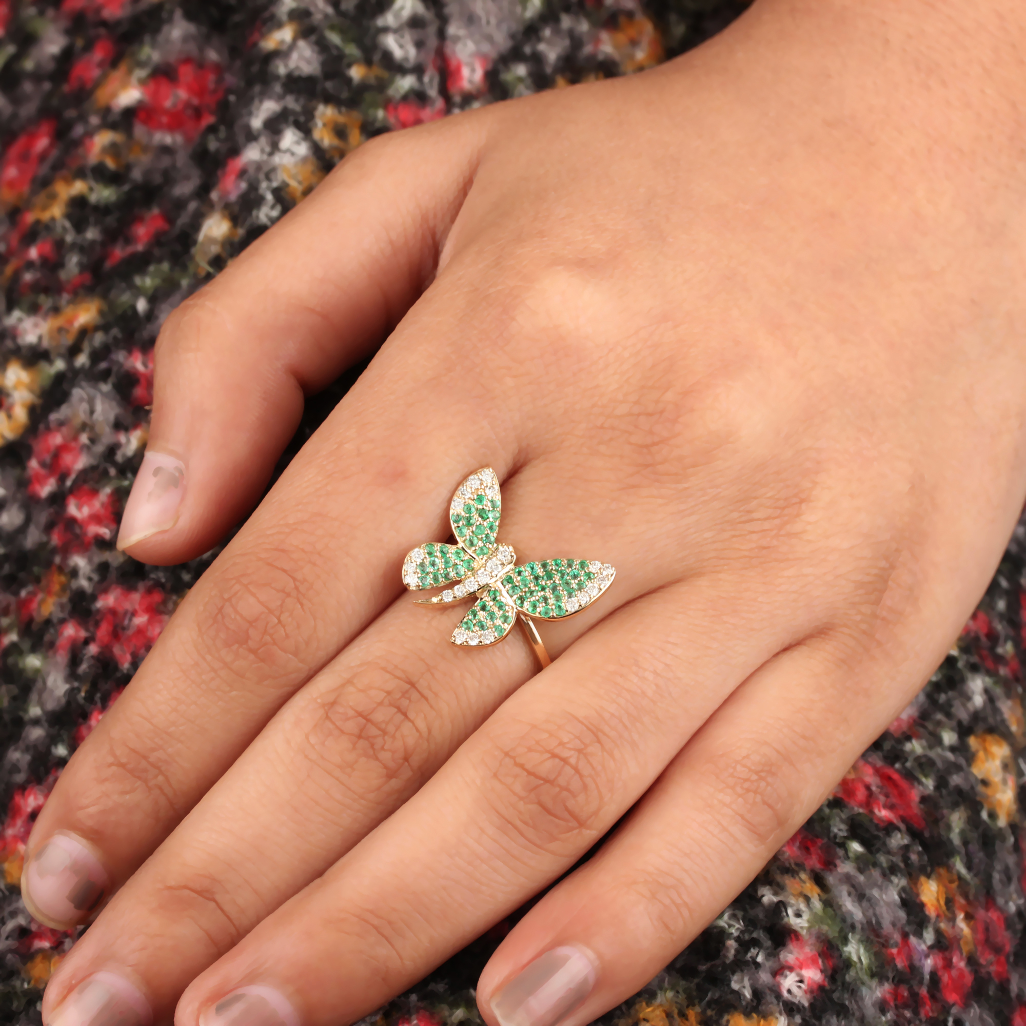 Emerald Gemstone Ring Butterfly Ring 14K Solid Gold Pave Diamond Jewelry